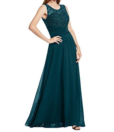Festlichkleider Blau Elegant Damen 2 Partykleider Spitze Formalkleider aus Abendkleider Ballkleider Dunkel Chiffon Charmant wRYqPCBBx