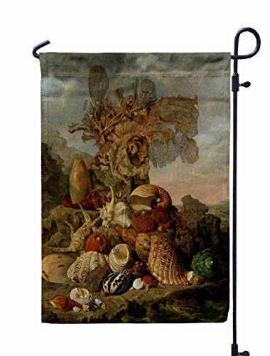 Shorping Welcome Garden Flag, 12x18Inch Shells Marine Plants by Dutch Painting Oil Canvas Still Life Exotic Shells Pieces Coral in Coastal for Holiday and Seasonal Double-Sided Printing Yards Flags -
