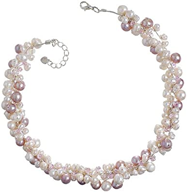 Pearl Cluster Statement Wire Choker Set Something Blue Gift for Her