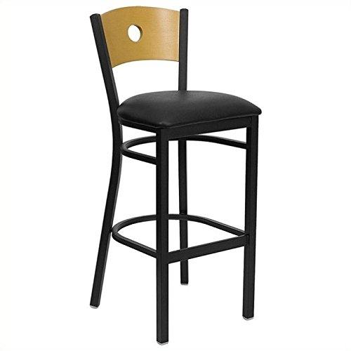 HERCULES Series Black Circle Back Metal Restaurant Bar Stool - Natural Wood Back, Black Vinyl Seat [XU-DG-6F6B-CIR-BAR-BLKV-GG] - Furniture Restaurant Wood Bar Stool
