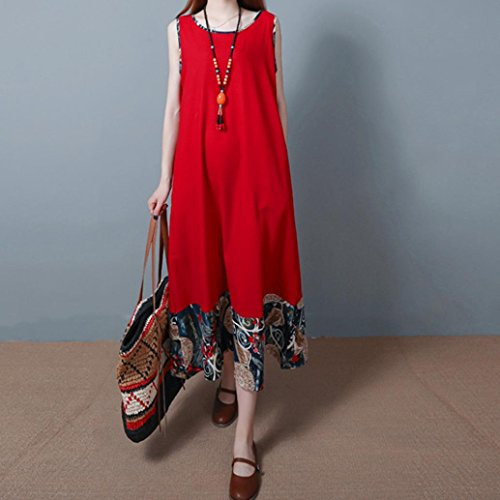Price comparison product image Women Ethnic Dress, Plus Size Simple Solid Gallus Oversized Vest Dress Long Section Beach Dress, Folk-Custom,Red,Green,Blue,Black (M, Red)