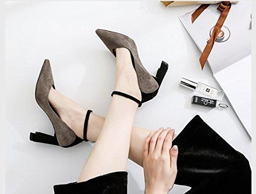 8 El Borlas talones Transpirable de elegante judías Sandalias zapatos Color La superficial con Moda Boca Ajunr 5cm Señaló pasta 38 39 Texturado la Rudos colgante ceniza 0qCwfnF7