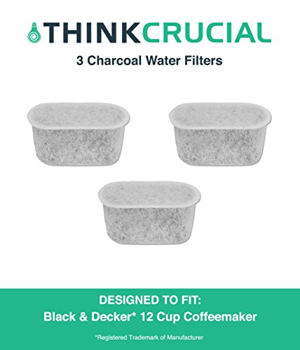 3 Premium Black Decker Charcoal Water Filters Fits 12 Cup Coffee Machines by Think Crucial