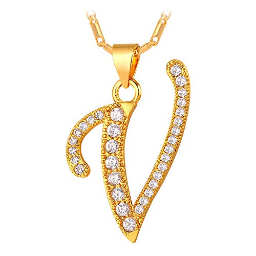 U7 Zirconia Platinum Initial Necklace