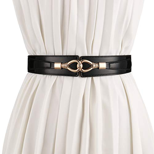 - shengweiao Women's Fashion Belt Leather Elastic Stretch Wide Waist Belts (Black, M/Fit to waistline 32.3