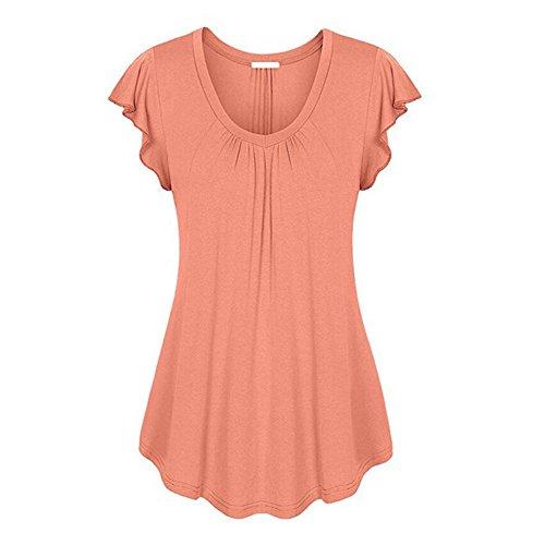 Short 4xl Tops Women Summer Orange Tee Shirts Sleeve V Solid Ofndd66 Neck Butterfly lcK3TuF1J