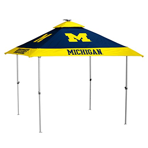 Logo Brands NCAA Michigan Wolverines Unisex Adult Pagoda Canopy w/ Side Panel Tailgate Tent, Navy, One Size