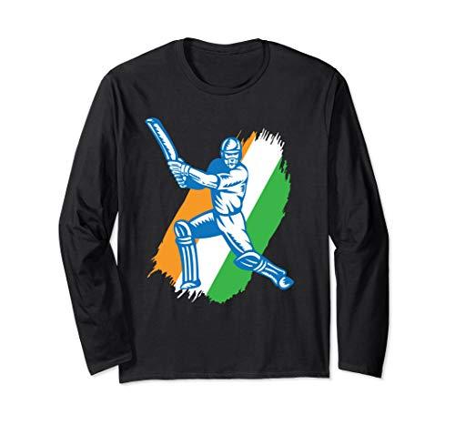 Long Sleeve Cricket - India Cricket Batsman jersey Long Sleeve T-shirt