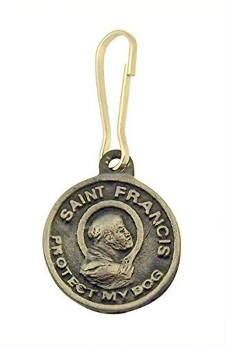 Pewter Saint Francis of Assisi Protect My Dog Pet Collar Tag Medal, 3/4 Inch
