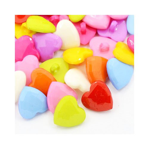 Packet of 25 x Mixed Acrylic 18mm Faceted Heart Buttons (Shank) - (Y08225) - Charming Beads