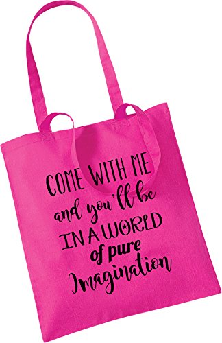 Willy Birthday Xmas Wonka imagination Cotton Gift you'll with 42cm Friend Pink be pure in of Great x Come 100 a me Craft tote amp; 38cm bag world gUvxwqB