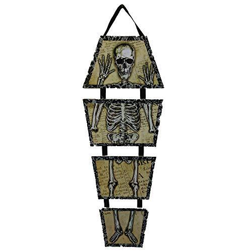 Greenbrier International Halloween Decoration Decor Skeleton Scary Wall Hanging Sign Skull Bones