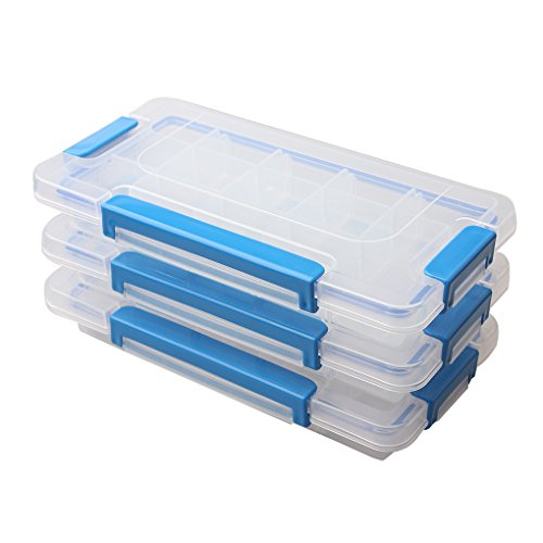 - BangQiao Adjustable Plastic Divider Storage Box Container for Bead, Button, Small Parts,15 Grids, Pack of 3, Clear
