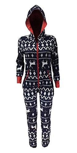FISACE Women's Snow Deer Zip-up Christmas Hoody Jumpsuit Holiday Pajamas