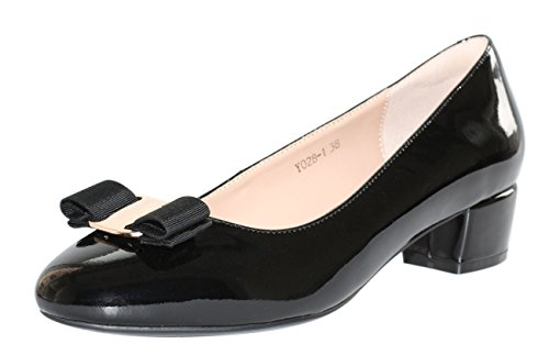 JARO VEGA Women's Glossy Patent Leather Low Chunky Heel With Bow Dress Pumps Shoes Black Size 7.5 - Bow Heels Shoes