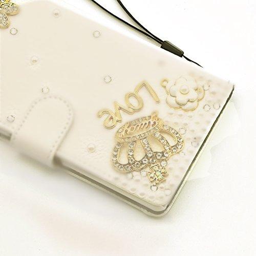 Vandot Lujo 3D Rhinestone Perla Funda de PU piel para Huawei Mate 10 Lite Cubierta de la Caja Bling Wallet Diamantes Carcasa del Brillo Shell para Huawei Mate 10 Lite 5.9, Función de Soporte, Cierre  ZPT 02