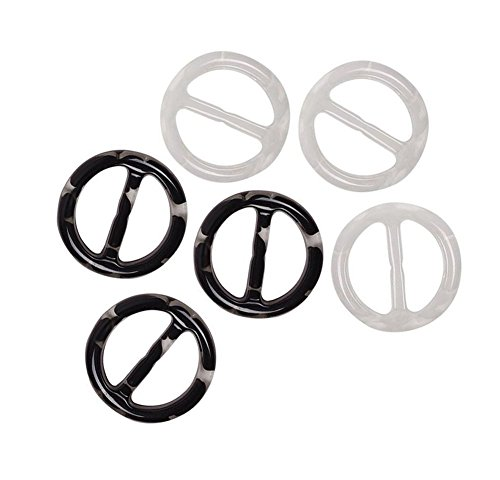 - 6Pcs Plastic Fashion Scarf Buckles 2 Inch Scarf Ring Clasp Clips Suitable for Silk Scarf Clothing Neckerchief T-Shirt(Black and White)