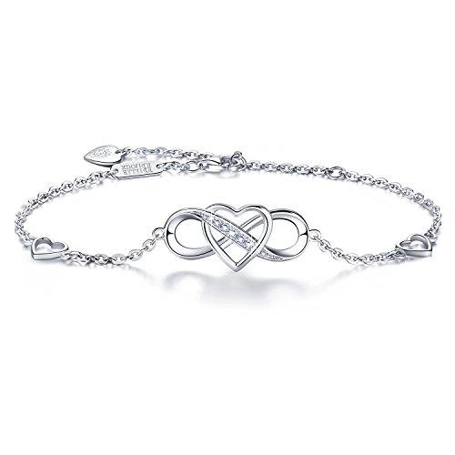 """Billie Bijoux Women 925 Sterling Silver Infinity Bracelet Forever Love"""" Infinity Heart White Gold Plated Diamond Adjustable Bracelet Best Gift for Women Girls Mother"""