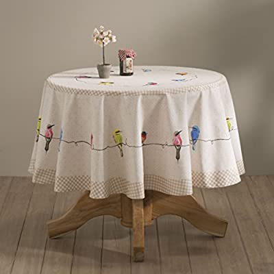 Maison d' Hermine Birdies on Wire 100% Cotton Tablecloth for Kitchen | Dining | Tabletop | Decoration | Parties | Weddings | Spring/Summer (Round, 63 Diameter) - Designed in Europe. 100% Cotton Tablecloth and Machine washable Tailored with care, this Birdies On Wire tablecloth from Maison d' Hermine is ideal for both formal & casual settings and makes a great gift for all occasions. Package Includes: 1 Tablecloth. Available Tablecloth Shapes: Square, Rectangle & Round. Products shown in the group image should be purchased separately. - tablecloths, kitchen-dining-room-table-linens, kitchen-dining-room - 41dvqlZF81L. SS400  -