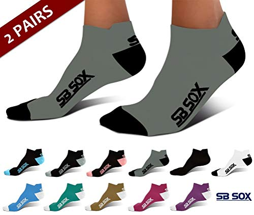 SB SOX Ultralite Compression Running Socks for Men & Women (2 Pairs) - Perfect Option to Our Compression Socks - Best No-Show Socks for Running, Athletic, Everyday Use (Gray/Black, Large) ()
