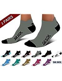 SB SOX Ultralite Calcetines de compresión para correr para hombres y mujeres (2 pares), la mejor opción a nuestros calcetines de compresión de alta rodilla – los mejores calcetines de corte bajo para correr, atletismo, senderismo, ciclismo, golf, uso diario.