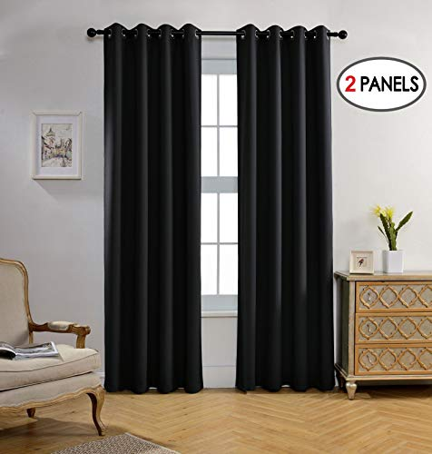 MIUCO Room Darkening Texture Linen Look Blackout Grommet Curtains for Office Set of 2 52x84 Inch Long Black (Black Texture)