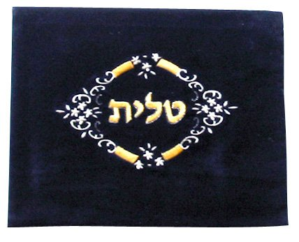 aJudaica Dark Blue Velvet Tallit Bag Flowers Design with Protective Plastic Bag