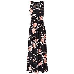 Zattcas Women Floral Tank Maxi Dress Pocket Sleeveless Casual Summer Long Dress (Medium, Black)