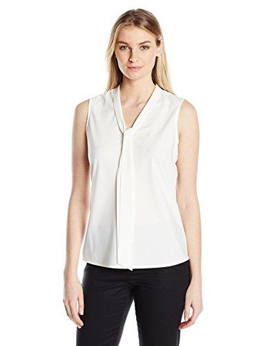 Kasper Women's Size Tie Neck Blouse, White, Petite X-Large