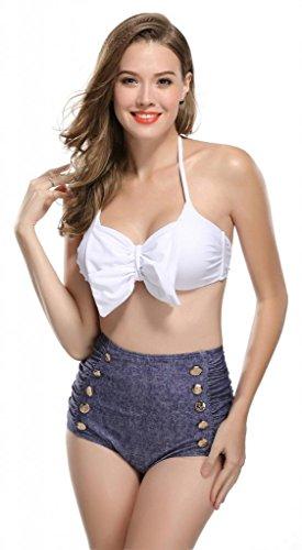 Kathlena 50s Women's Vintage Color Block Bow Tie High Waist Bikini Swimsuit(FBA),White / Denim,Small