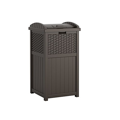 (Suncast 33 Gallon Outdoor Trash Can for Patio - Resin Outdoor Trash Hideaway with Lid - Use in Backyard, Deck, or Patio - Brown)