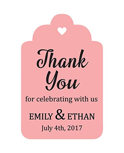 (100 PCS Personalized Paper Tags Thank You For Celebrating Custom Wedding Favor Hang Tags)
