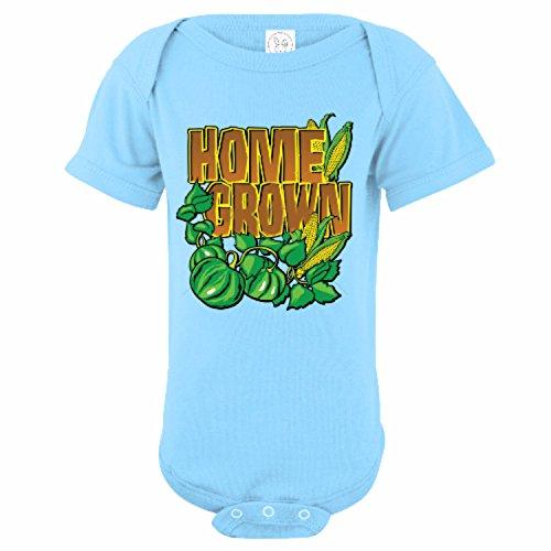 U.S. Custom Kids Home Grown Garden Baby Onesie, 24 Months Onesie, Light Blue Onesie ()