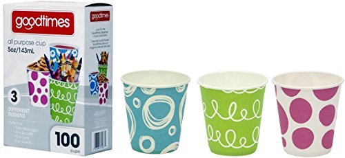 Goodtimes 5oz. All-Purpose Bathroom/Kitchen Paper Cold Cups,100ct-Assorted Designs (1) -