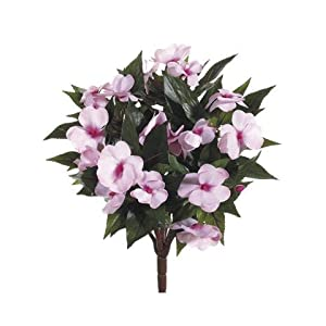 """Afloral Pink New Guinea Impatiens Silk Flowers Bush - 13.5"""" Tall 13"""