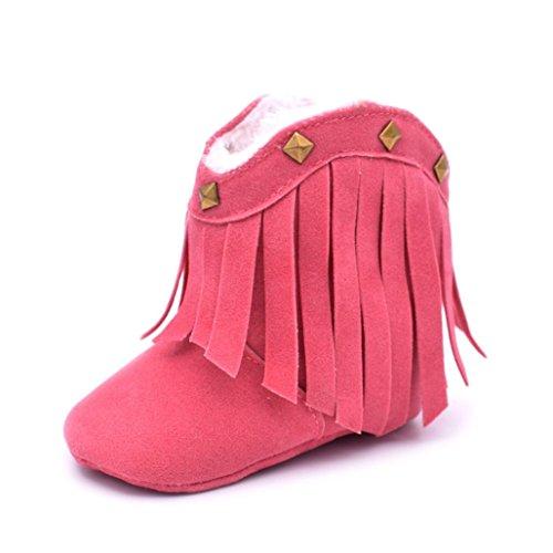 Gotd Toddler Baby Girl Tassel Rivet Snow Boots Winter Warm Shoes (S: 0~6 Months, Hot Pink)