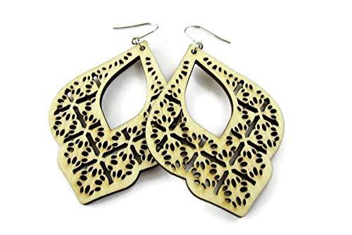 Natural Wood Filigree Earrings for Women, Marrakesh Style Statement Jewelry, Hippie Bohemian Style Earrings