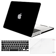 Mosiso Plastic Hard Case with Keyboard Cover with Screen Protector for Macbook Pro Retina 15 Inch (Model: A1398) No CD-ROM, Black