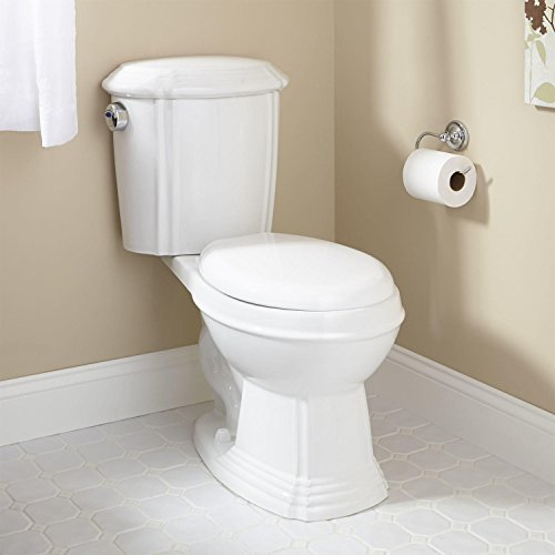 Naiture Porcelain Dual-Flush Water Closet With Elongated Bowl Toilet And Chrome Flush Button On Left In White - 1/2 Elongated Inch Bowl