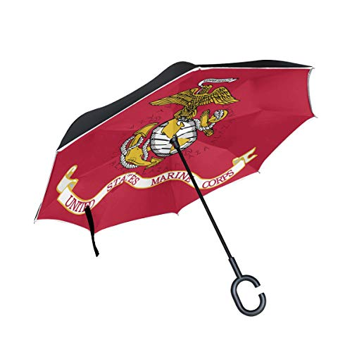Inverted Umbrella Personalized US Marine Corps Flag Double Layer Reverse Umbrella for Car and Outdoor Use by, Windproof UV Protection Big Straight Umbrella with C-Shaped Handle ()