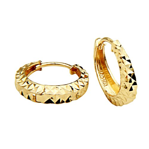 14k Yellow Gold 3mm Thickness Multifaceted Oval Hoop Huggie Earrings (15 x 15 mm) by The World Jewelry Center