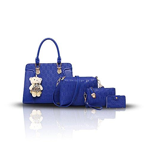 Tisdaini Nuevo Dama bolso de mano PU piel moda 3pcs set bolso bandolera+bolsos de+billetera Azul
