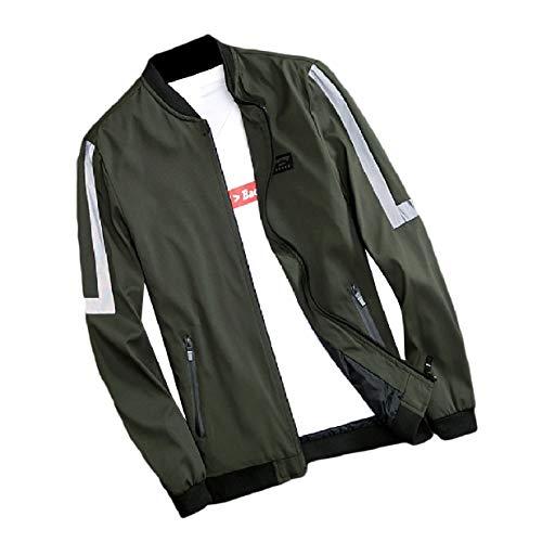 Caduta Pioggia Fermo Xinheo Militare Zip Uomini Giacca Esile Verde Atletico Di Collare Con Raccordo 5twq70