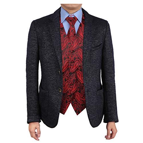 Epoint EGD1B07C-XL Red Black Patterns Vest Microfiber Dress Tuxedo Vest Neck Tie Set Presents For -