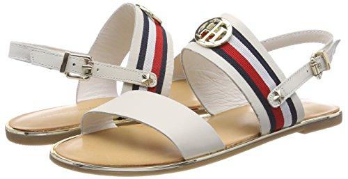 White Sling 121 Sandal Hilfiger Tommy Women''s Back whisper Ribbon Corporate Flat wxRw8UYvq