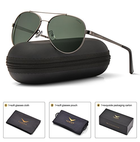 LUENX Men Women Aviator Sunglasses Polarized Grey Green Lens Gun Metal Frame with Accessories UV 400 - Sunglasses Wearing Man
