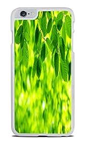Green Leaves White Hardshell Case for iPhone 6+ (5.5)