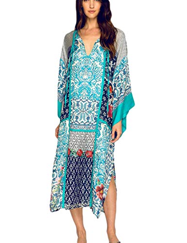 Batwing Sleeve Kaftan Beach Maxi Dress Women Bathing Suit Cover Up Beachwear (Sleeve Kaftan)