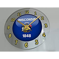 FanPlastic States and Territories of The USA Wall Clocks - Brand New and Unique Circular State Flag Designs - Size 12 X 12 X 2 !! (Wisconsin Flag Wall Clock)