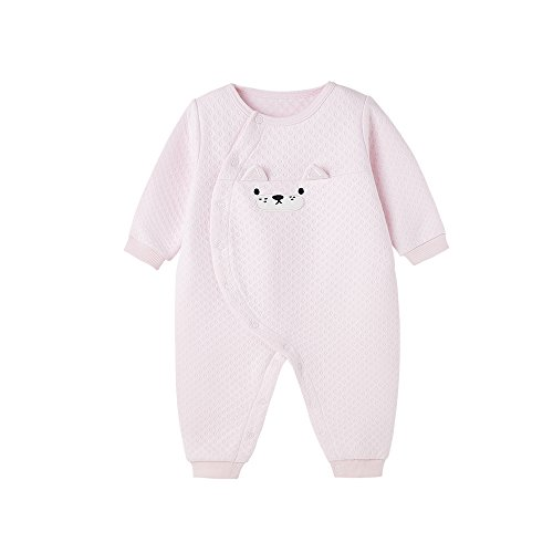 Minibalabala Baby Girls Winter Spring and Autumn Romper Cotton Long Sleeve Conjoined Feet Children Climbing Clothes (Pink, 12M)